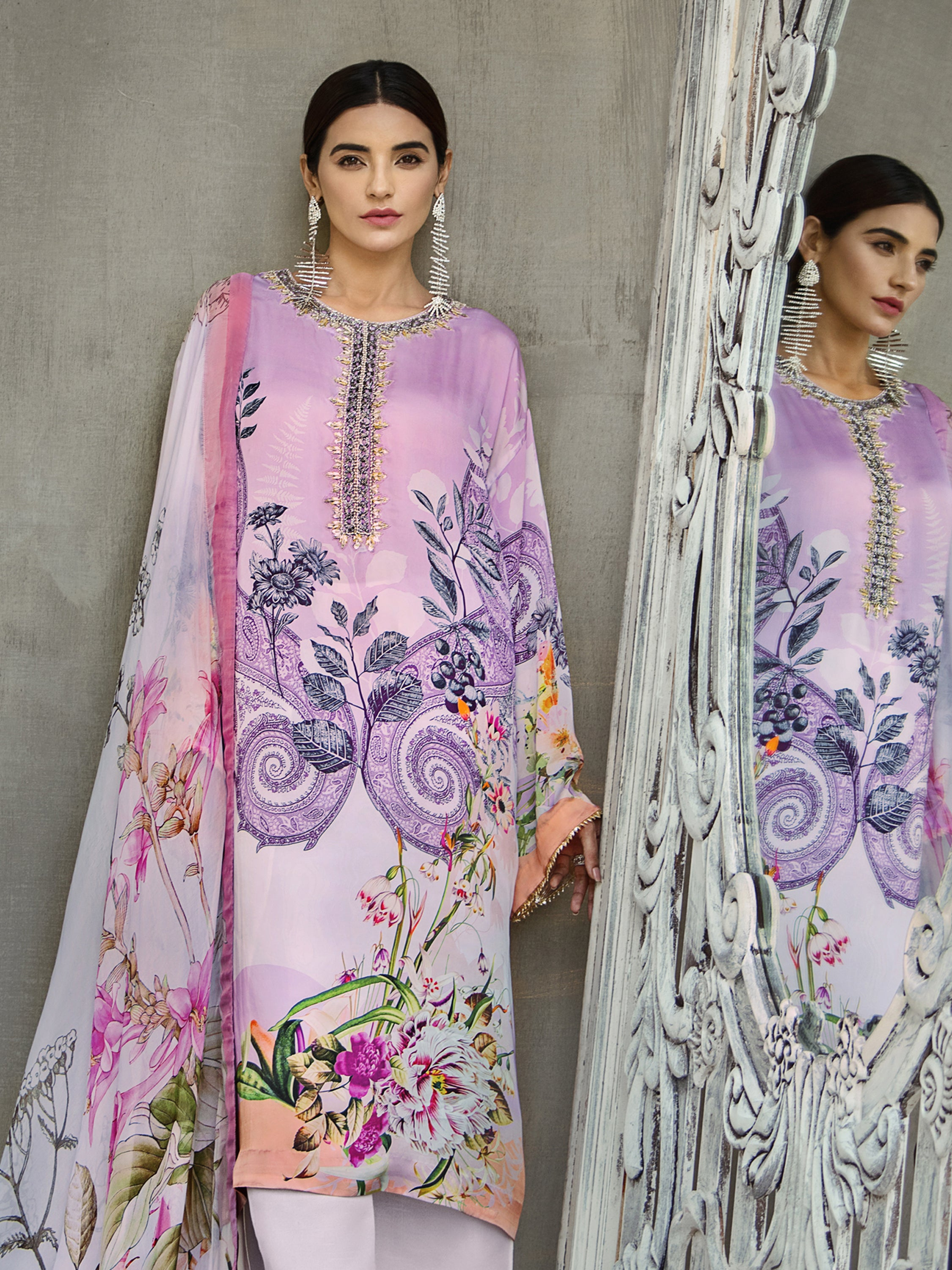 GUL AHMED DIGITAL SILK 3 Pcs Digital Silk DGS#77