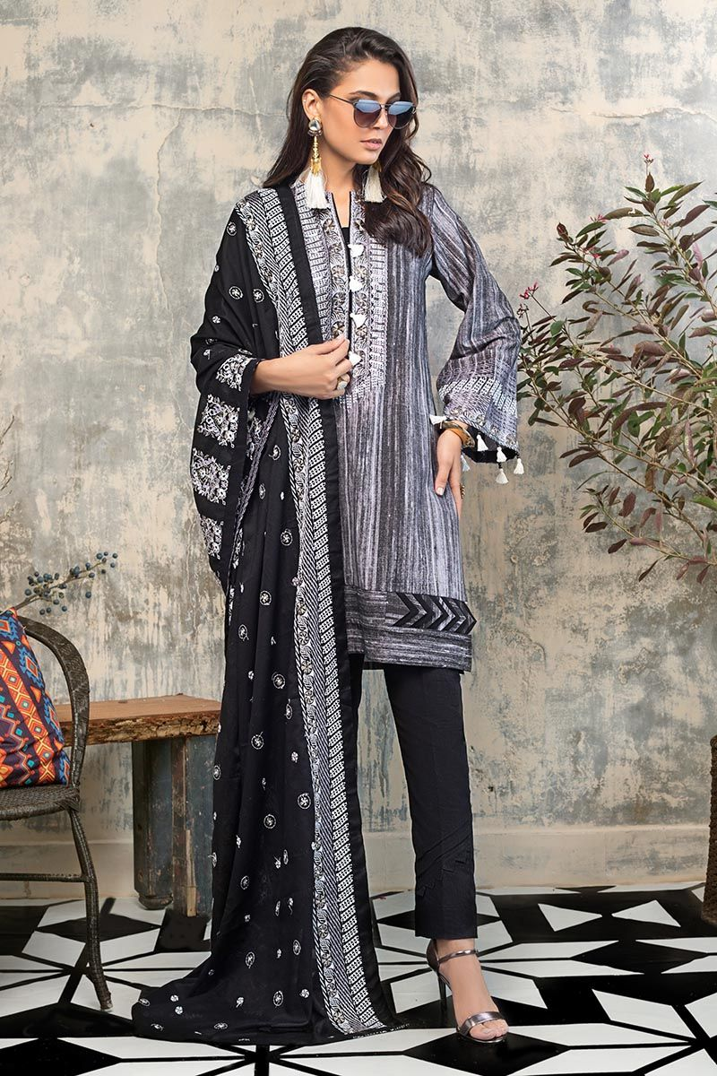 Gul Ahmed Winter Stitched  3 PC K#112