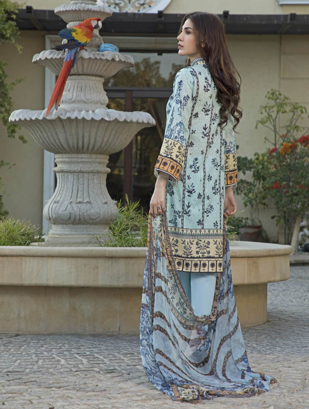 STITCHED CHIF. DUPATTA LAWN 3 PC KC-5039
