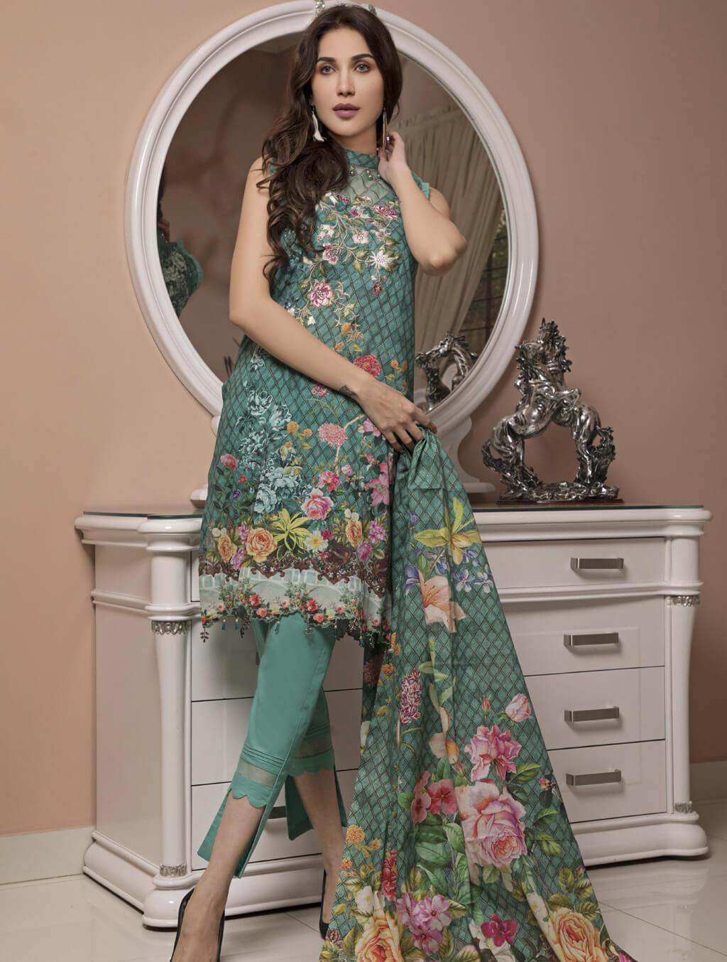 STITCHED EMB. LAWN 3 PC KL-4043