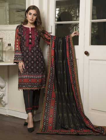 STITCHED EMB. LAWN 3 PC KL-4044