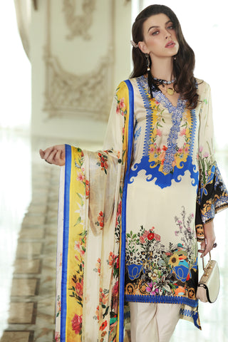 Stitched 3 Piece Embroidered Silk DGS # 82