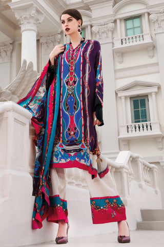 Stitched 3 Piece Embroidered Silk DGS # 85