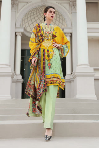 Stitched 3 Piece Embroidered Silk DGS # 79