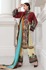Stitched 3 Piece Embroidered Silk DGS # 84