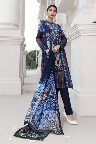 Stitched 3 Piece Embroidered Silk DGS # 83