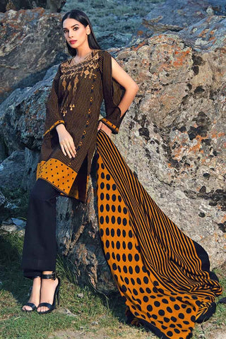 Gul Ahmed Stitched Winter 3 Piece  AY#05