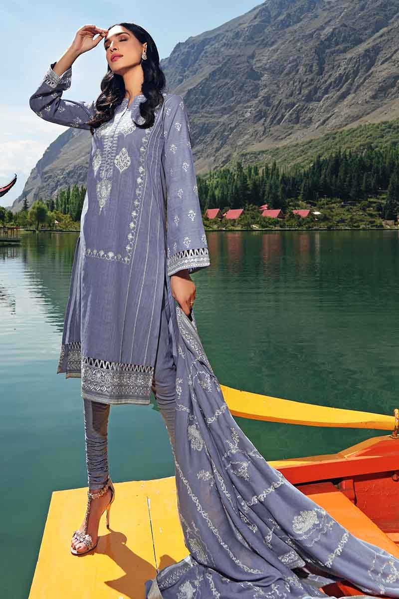 Gul Ahmed Stitched Winter 3 Piece  DK#02