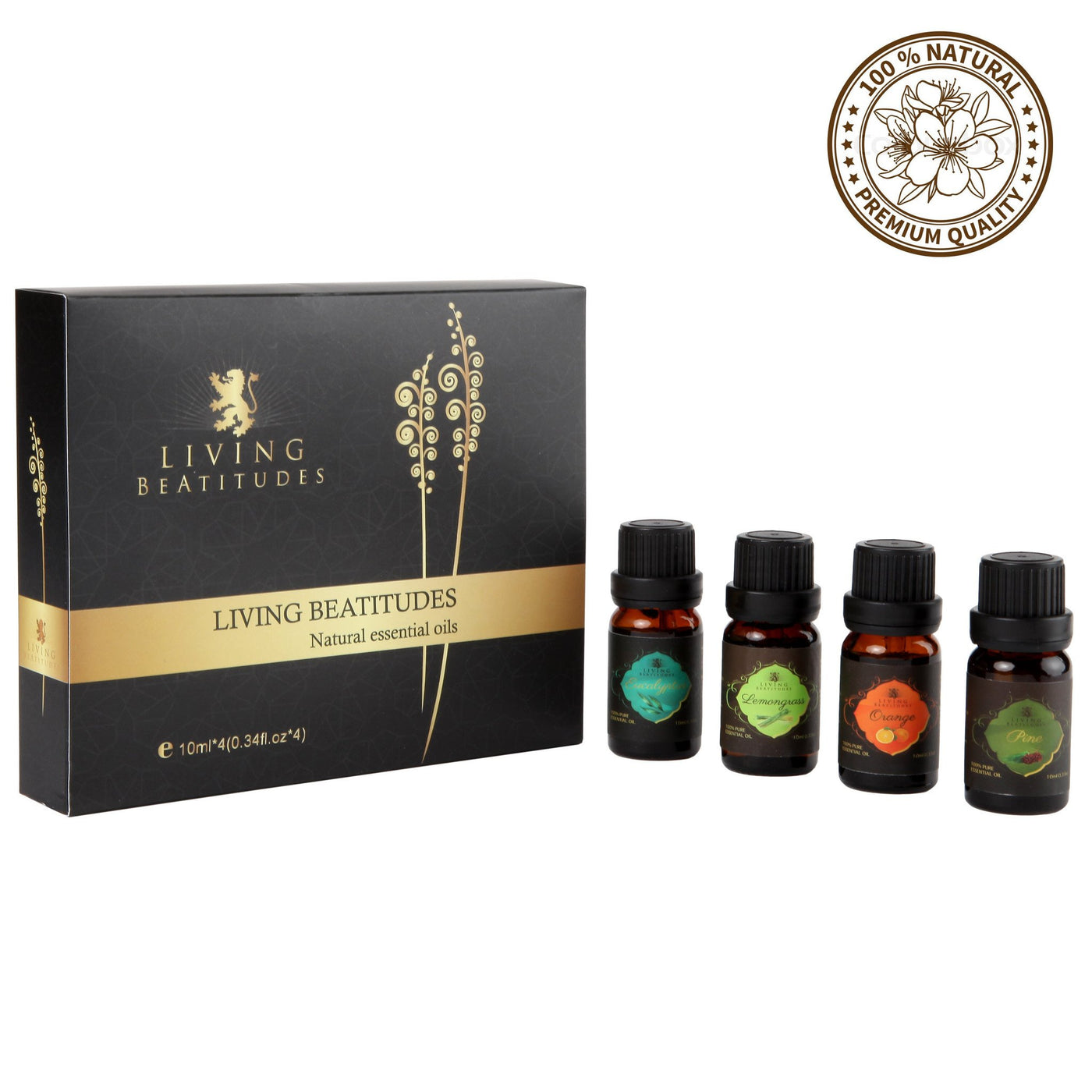 Aromatherapy Essential Oils | 4x10ml (Eucalyptus, Lemongrass, Orange, Pine)