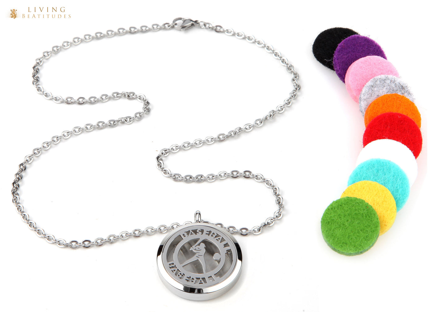 "Aromatherapy Essential Oil Diffuser Necklace for Sports Fans with 20"" & 24"" Chains and 10 Color Pads"