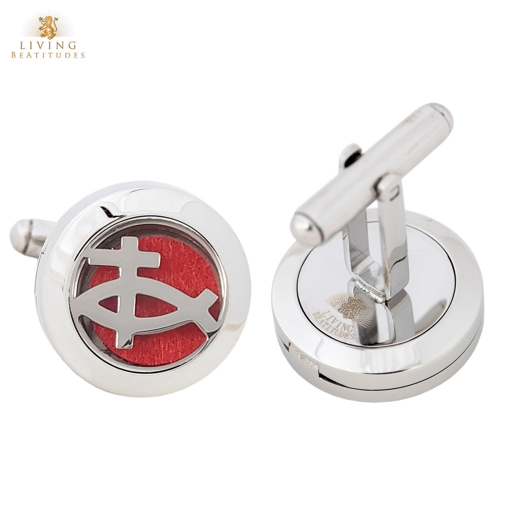 Aromatherapy Diffuser Stainless Steel Cufflink - Christian Jesus Fish