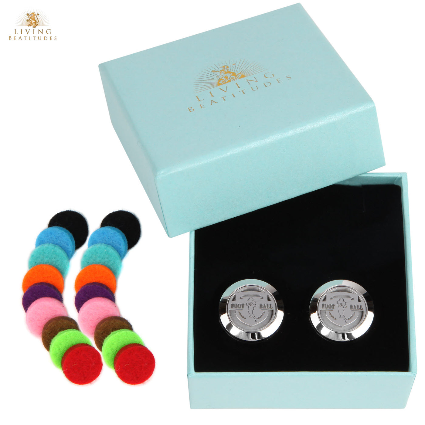Aromatherapy Essential Oil Diffuser Sport Cufflinks with 20 Colored Hypo-Allergenic Pads