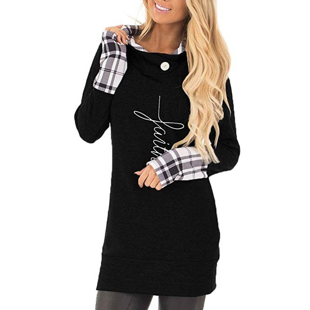 Women's Casual Faith Print Long Sleeve Hoodie Pullover Plaid Sweatshirt