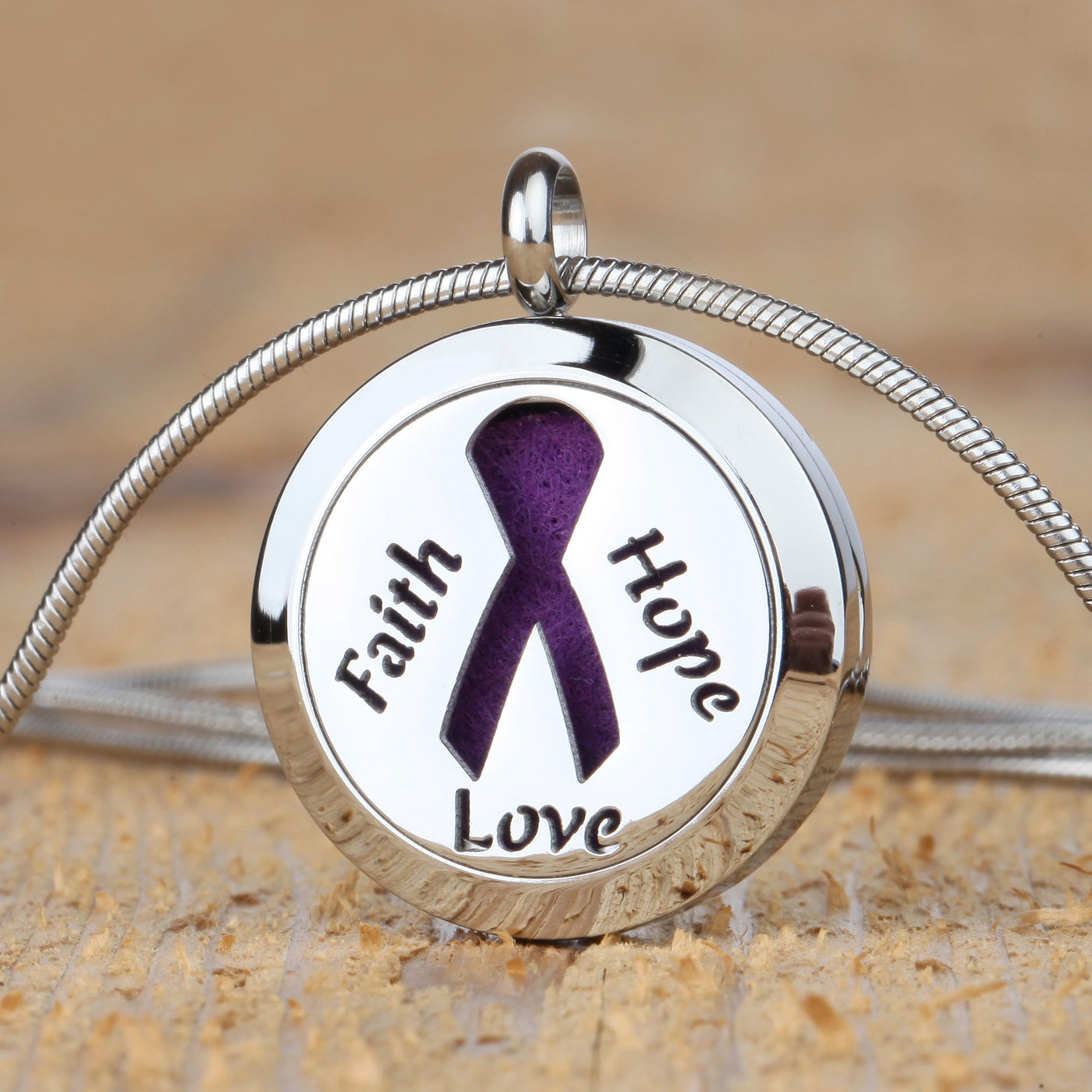 faith hope love cancer awareness aromatherapy necklace