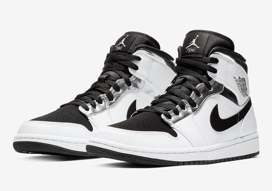 Air Jordan 1 Mid 'White/Metallic Silver