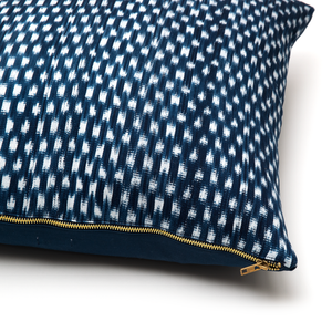 Intiearth Peruvian Ikat Cotton Pillow blue and white indigo