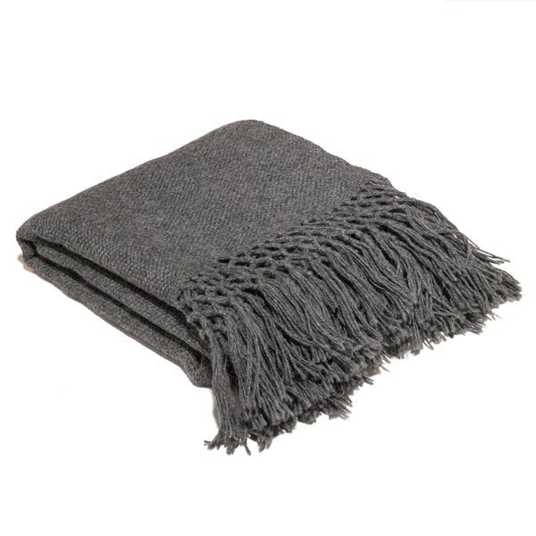 Hand loomed alpaca throw blanket charcoal color with macrame edge