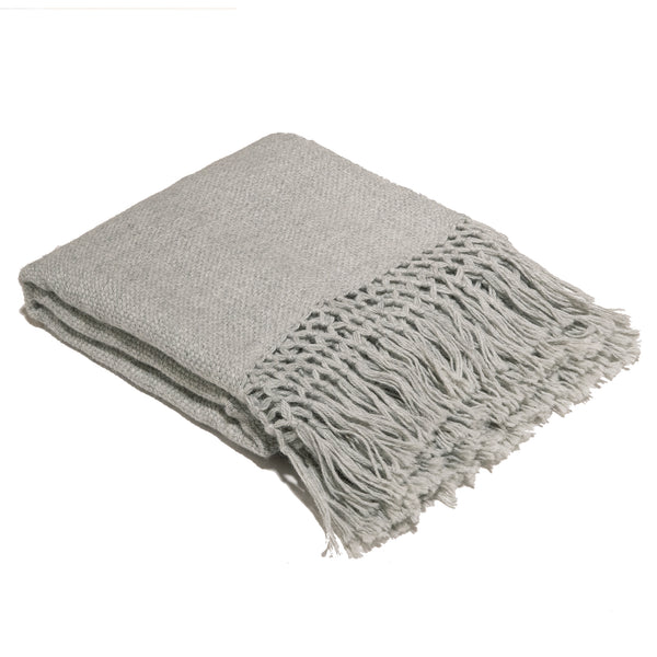 Hand loomed alpaca throw blanket platinum color with macrame edge