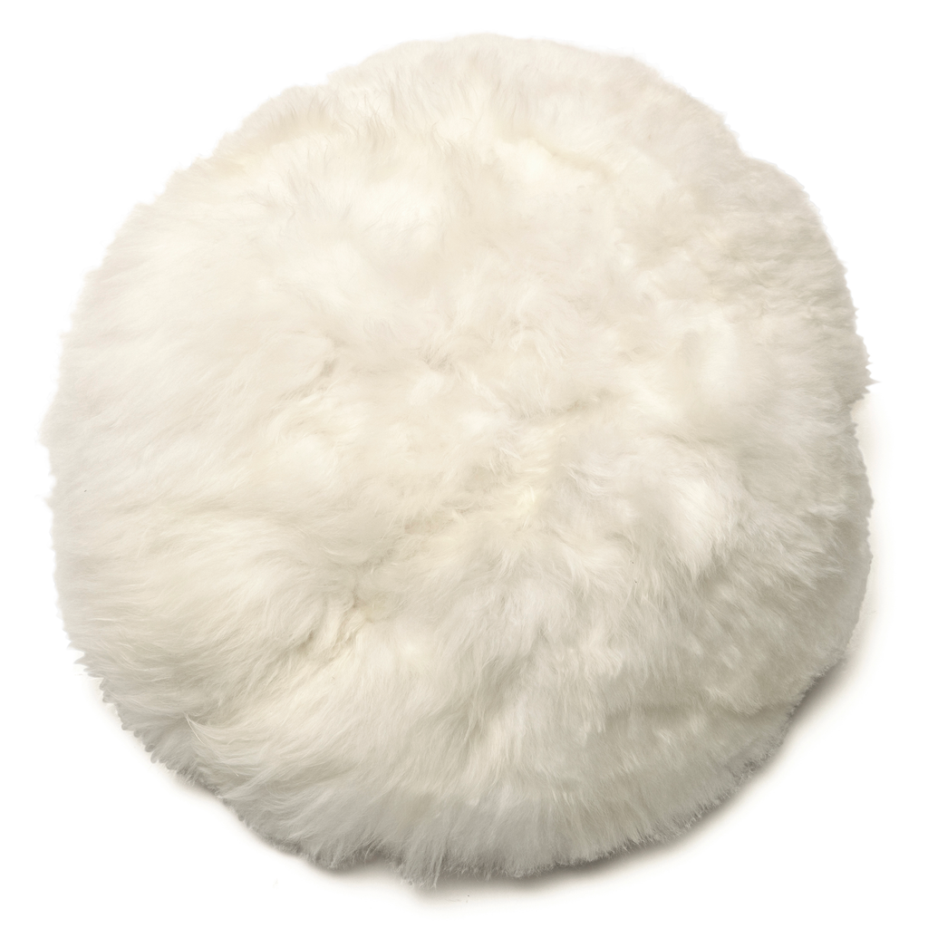 Intiearth Alpaca white Fur Moon Pillow round