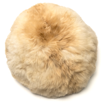 Intiearth alpaca fur round moon pillow in champagne beige