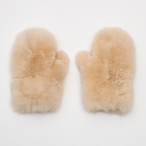 Intiearth baby alpaca fur mittens champagne winter accessories