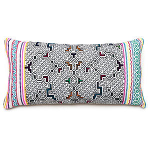 Intiearth Shipibo hand embroidered lumbar pillow