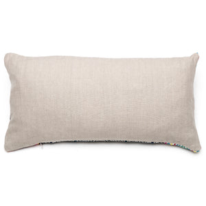 Intiearth Shipibo hand embroidered lumbar pillow linen back