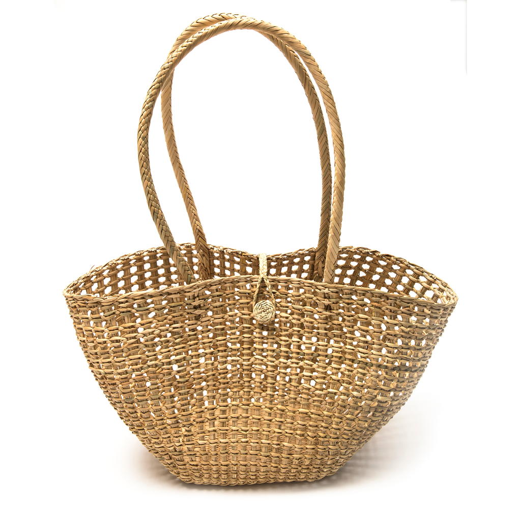 Intiearth woven straw shoulder market beach basket open weave with handle