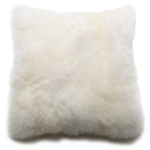 "Intiearth Baby alpaca  fur decorative throw pillow white  20"" square"