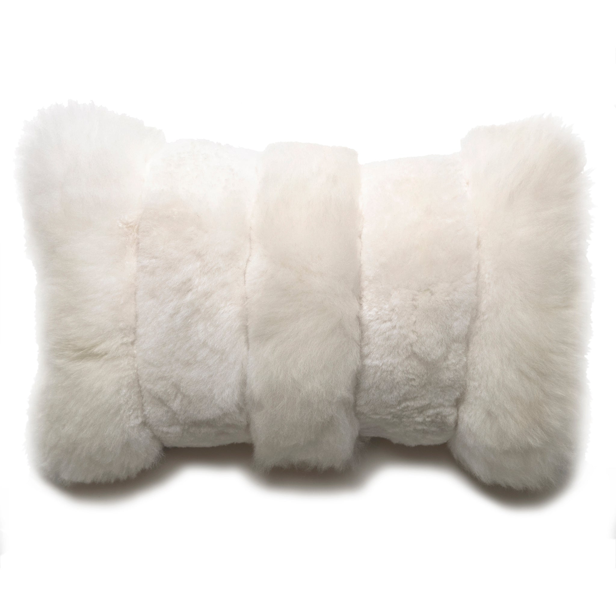 Intiearth Baby alpaca fur decorative throw pillow white lumbar stripe design