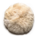 Intiearth alpaca fur round moon pillow in natural cream