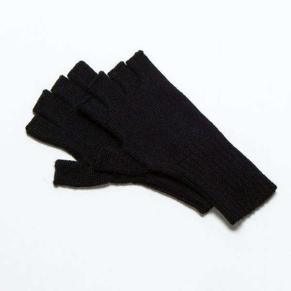 Baby Alpaca Fingerless Gloves Black-Intiearth