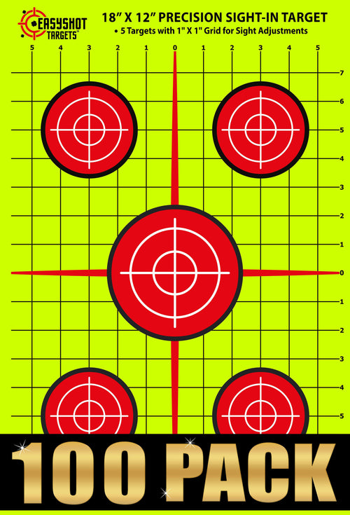 100-PACK 18 X 12 INCH Sight-in Targets with 1x1 inch Grid | High-Contrasting Yellow & Red Colors Make it Easy to See Your Shots Land | Close to Wholesale Prices…
