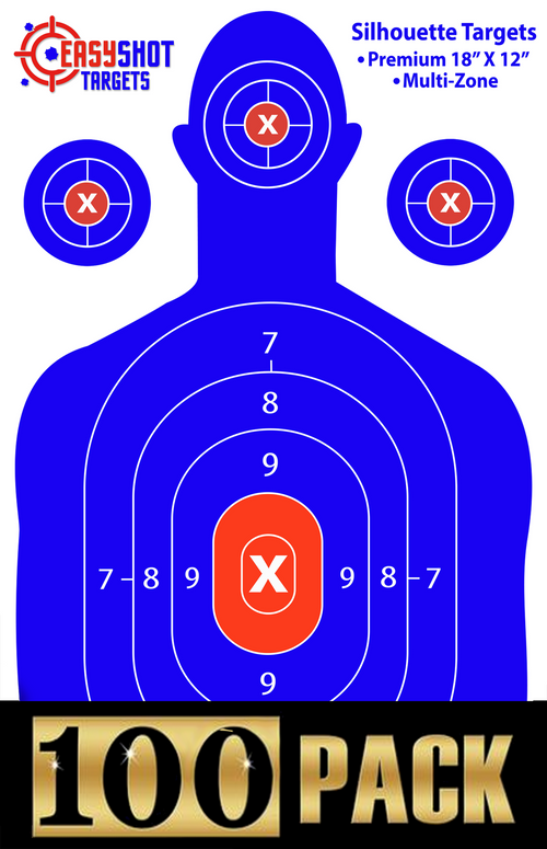 "100-PACK - Blue Silhouette Targets 18"" X 12"""