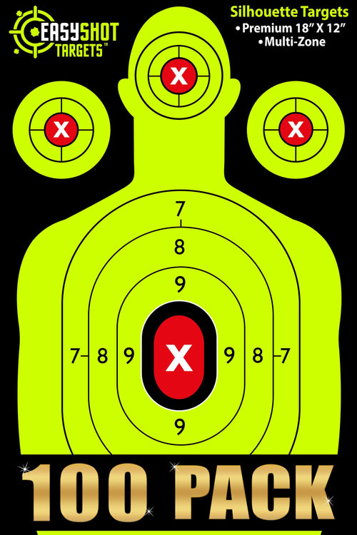 100-PACK NEON YELLOW EASYSHOT SHOOTING TARGETS - High-Contrasting Yellow & Red Colors Make it Easy to See Your Shots Land