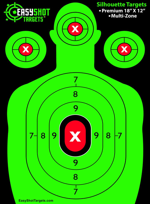 """100-PACK"" NEON GREEN SHOOTING TARGETS - SEE YOUR SIGHTS and EVERY SHOT EASIER with our BRIGHT Neon Green & Red Colors. HIGHEST QUALITY silhouette pap"