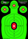 """400-PACK SUPER SAVER"" NEON GREEN SHOOTING TARGETS - SEE YOUR SIGHTS and EVERY SHOT EASIER with our BRIGHT Neon Green & Red Colors. HIGHEST QUALITY silhouette paper targets for shooting at the LOWEST PRICE - 150 Free Repair Stickers."
