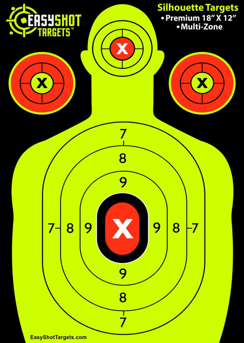 105-PACK EasyShot Silhouette Shooting Targets 18 X 12 inch. Shots are Easy to See with The Neon Yellow & Red Colors. Thick Paper Sheets for Pistols, R