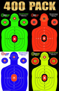400-PACK BULK SHOOTING TARGETS (STOCK UP AND SAVE) 100 Sheets of Each Color: Neon Green, Neon Yellow, Electric Blue and Fluorescent Orange.