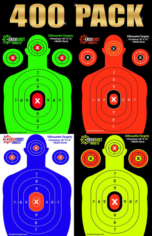 (MEMORIAL DAY SALE) 400-PACK BULK SHOOTING TARGETS (STOCK UP AND SAVE) 100 Sheets of Each Color: Neon Green, Neon Yellow, Electric Blue and Fluorescent Orange.