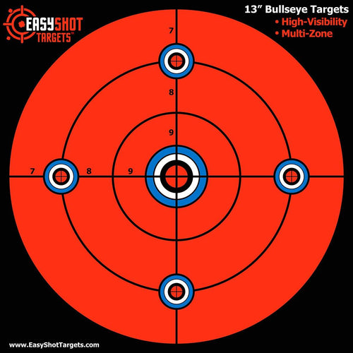 "100 PACK- 13"" Bullseye Targets -  New ""Super-Saver"" Bundle - Large 13 X 13"" Maximum Visibility Bullseye Sight-in Targets for Shooting - Fluorescent Orange, Bright and Colorful - Easy to See Your Shots"