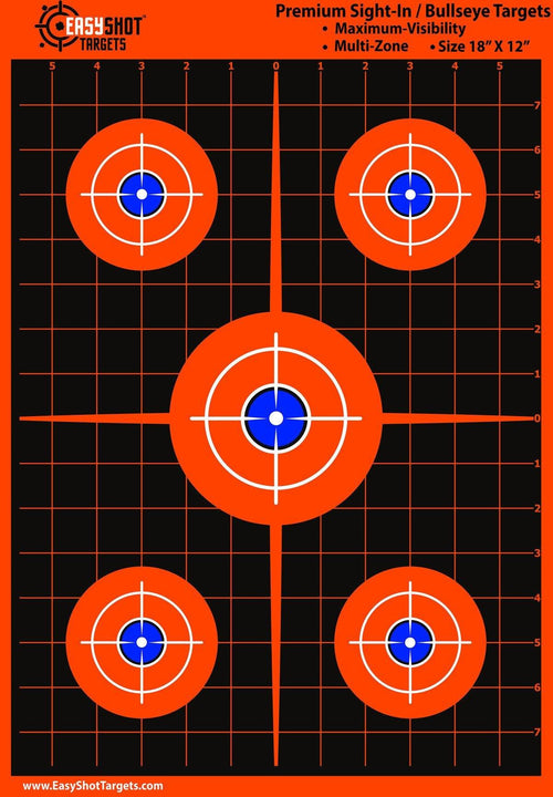 100-Pack - Maximum Visibility Bullseye Sight-In Targets For Shooting - Fluorescent Orange, Bright and Colorful - Easy To See Your Shots - Best Quality