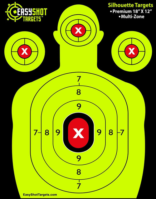 25-PACK NEON YELLOW EASYSHOT SHOOTING TARGETS - High-Contrasting Yellow & Red Colors Make it Easy to See Your Shots Land