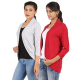 Zalula Women's Spandex Grey and Red Shrug
