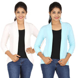 Zalula Women's Spandex Off White and Sky Blue Shrug