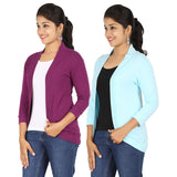 Zalula Women's Spandex Purple and Sky Blue Shrug