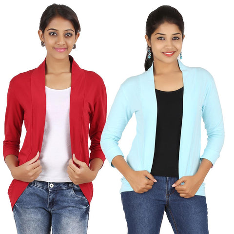 Zalula Women's Spandex Red and Sky Blue Shrug
