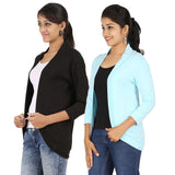 Zalula Women's Spandex Black and Sky Blue Shrug