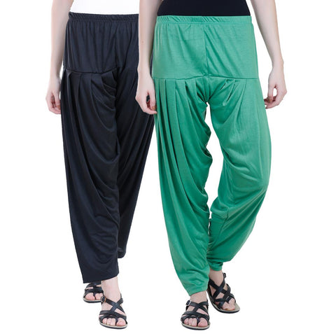 Colorfly Women's Viscose Black And Green Color Patiala Pack of 2