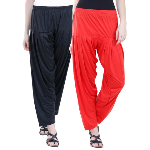 Colorfly Women's Viscose Black And Red Color Patiala Pack of 2
